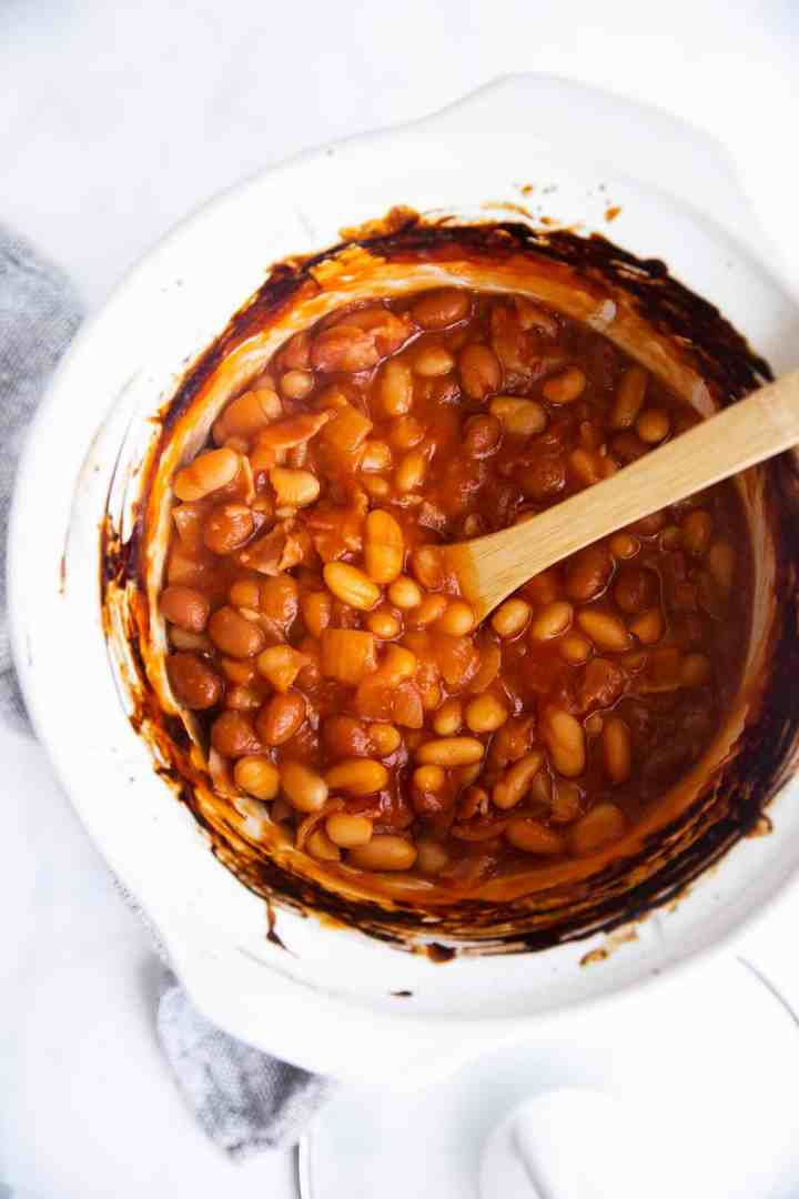 view from top on white crock with baked beans