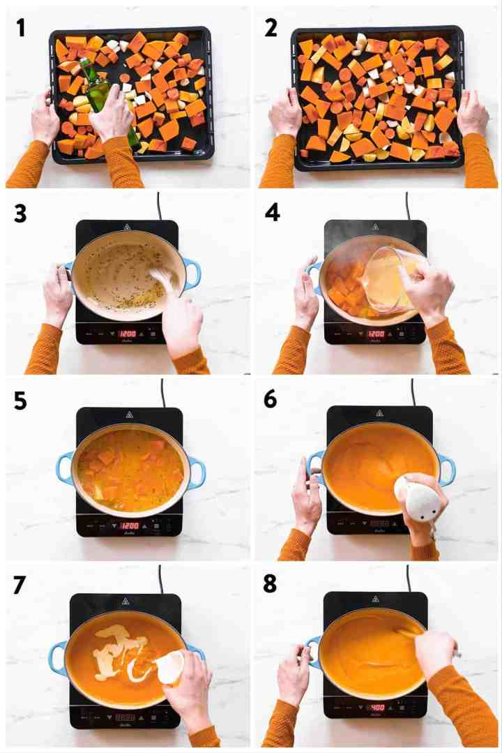 collage of steps to make butternut squash soup