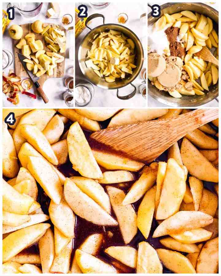 steps to show preparing and sautéing apples for apple pie filling