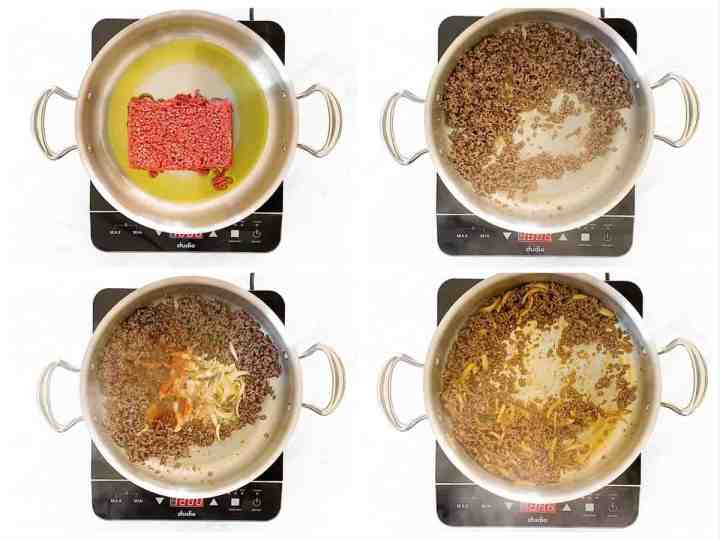 photo collage to show how to brown beef and onions in a skillet
