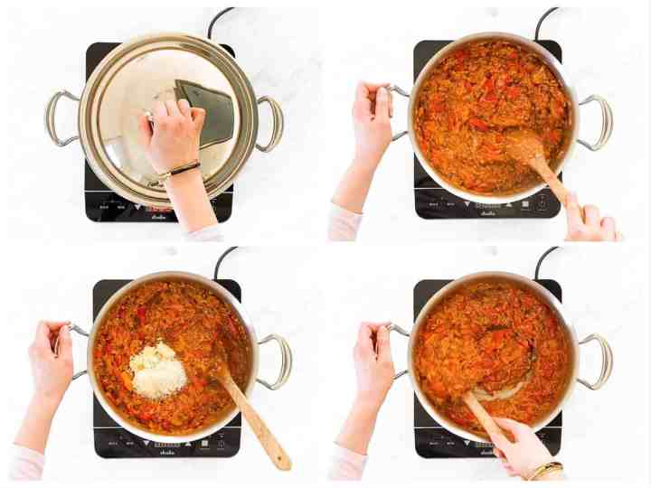 photo collage to show how to cook unstuffed pepper skillet