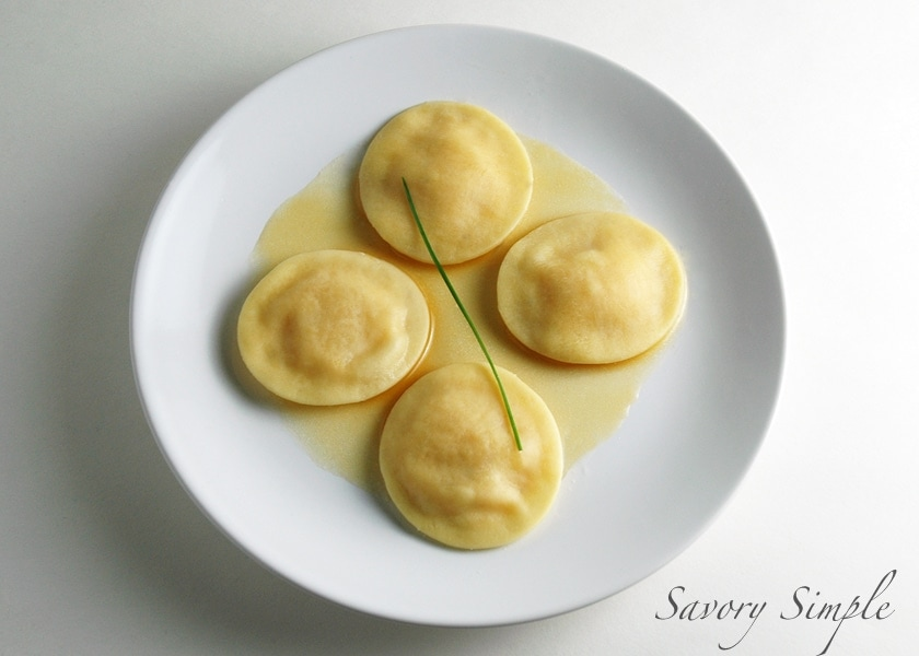 Pumpkin Ravioli with Brown Butter Sauce ~ Savory Simple