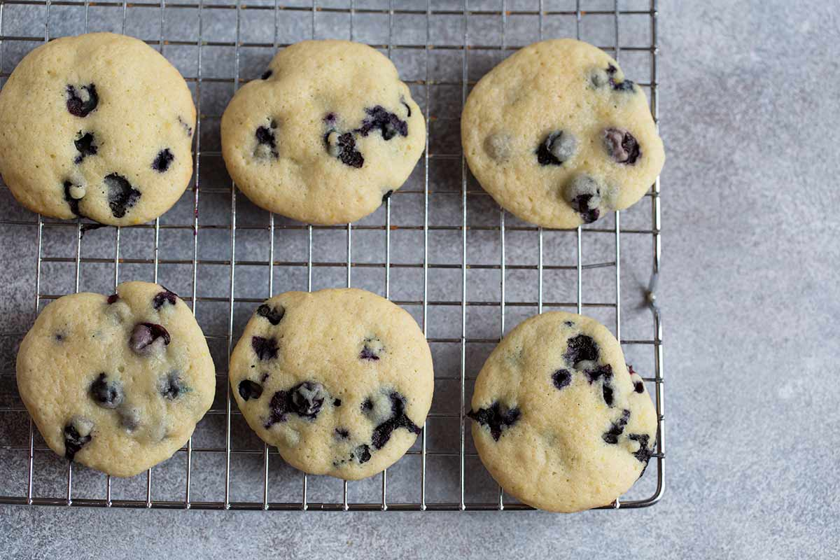 An overhead photo of this blueberry buttermilk cookies recipe