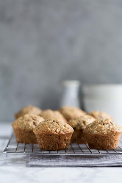 Banana bread muffins on a cooling rack