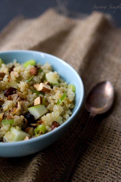 Quinoa, Apple & Almond Salad with Honey Lemon Mint Vinaigrette