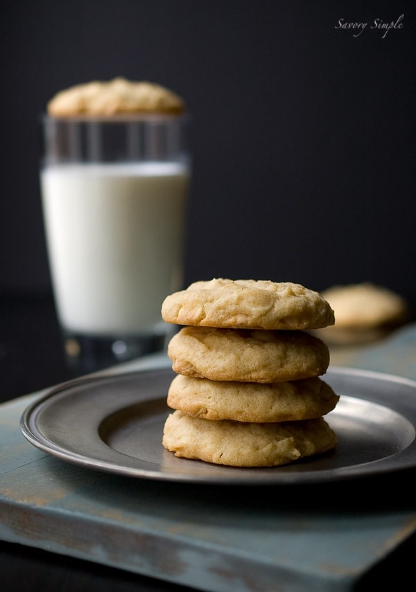 Irish cream white chocolate chip cookies ~ Savory Simple ~ www.savorysimple.net #recipe
