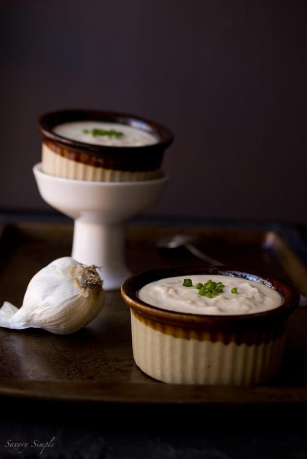 Roasted Garlic White Bean Hummus ~ Savory Simple ~ www.savorysimple.net #recipe