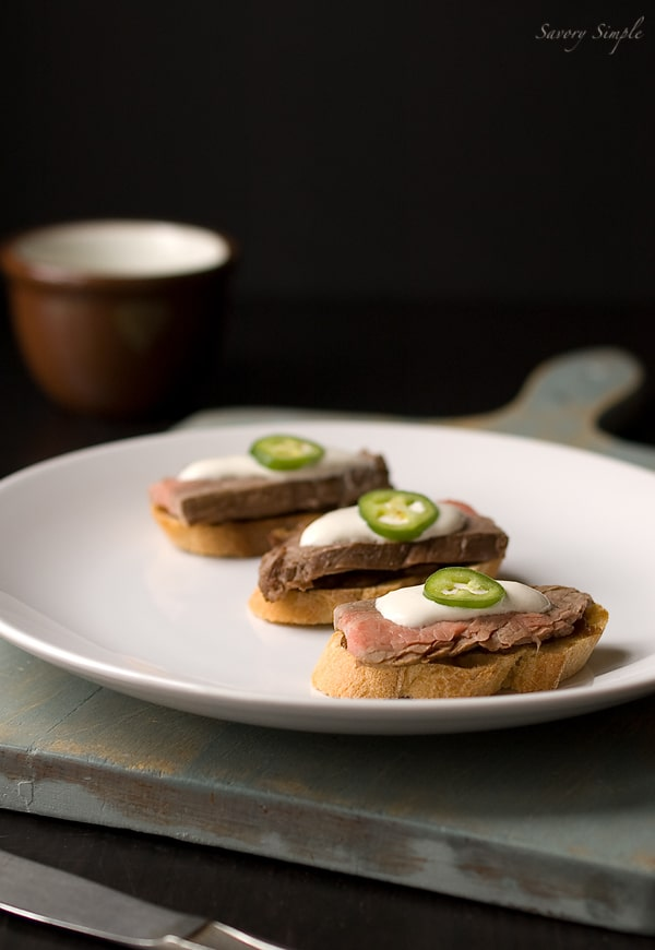 Steak Crostini with Onion Confit and Horseradish Cream ~ Savory Simple ~ www.savorysimple.net