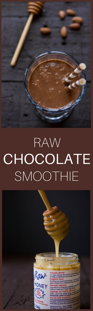 With only 5 ingredients, this raw chocolate smoothie is dairy-free, gluten-free, and it comes together in no time!