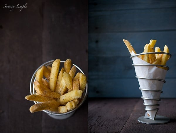 A photo of homemade french fries.