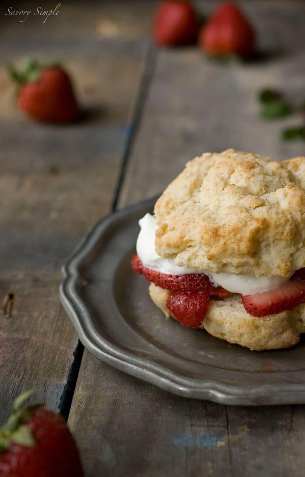 Drunken Strawberry Shortcake with Chocolate Mint Whipped Cream ~ #CAStrawberryShortcake ~ Savory Simple