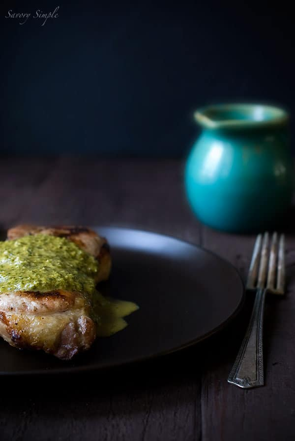 Grilled Pork Chops with Spicy Chimichurri Sauce - Savory Simple