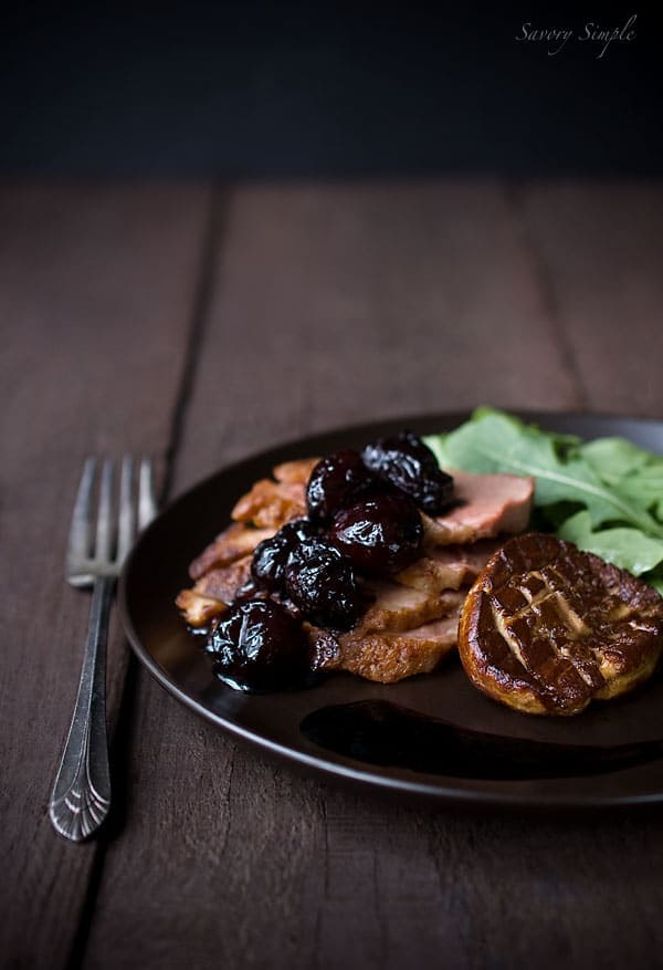 Duck Breast with Seared Foie Gras and Balsamic Cherries