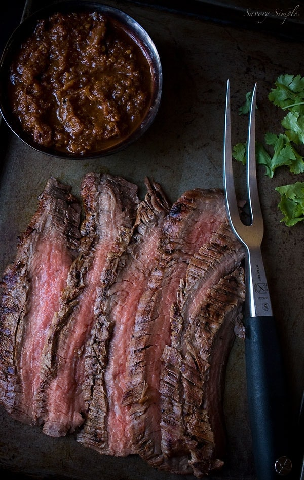 Cumin Marinated Grilled Flank Steak with Salsa - Savory Simple