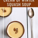 Winter squash soup with text overlay.