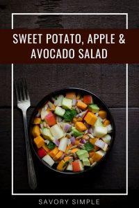Sweet potato, apple, and avocado salad with text overlay.