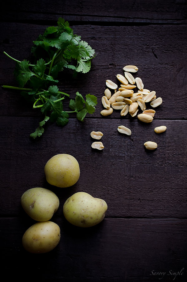 Curry ingredients - potatoes, cilantro and peanuts
