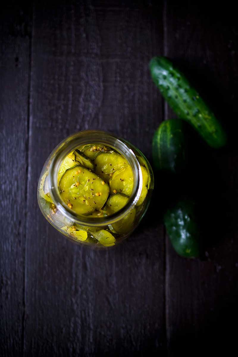 easy bread and butter pickles in a mason jar