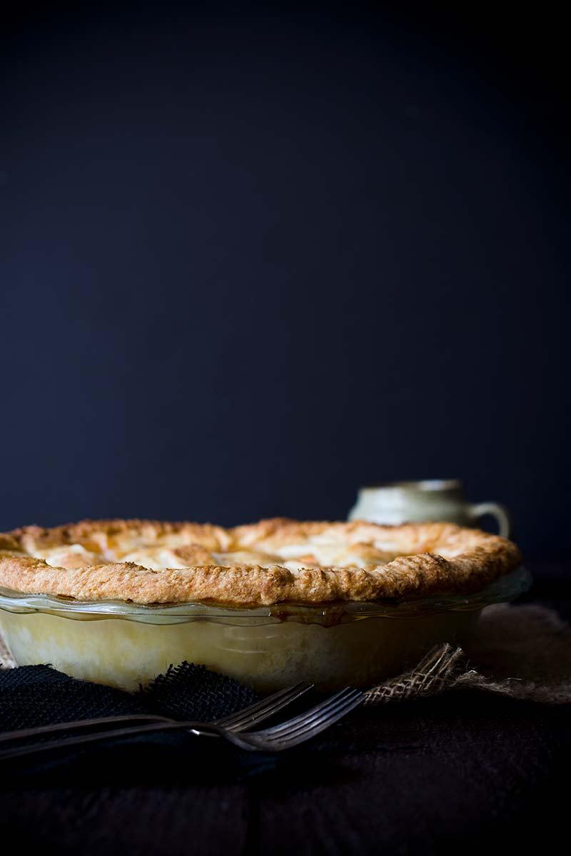 Side angle of homemade nectarine pie recipe