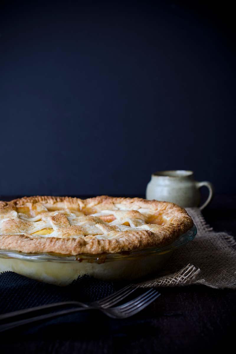 Homemade nectarine pie recipe, uncut, still in the pie dish