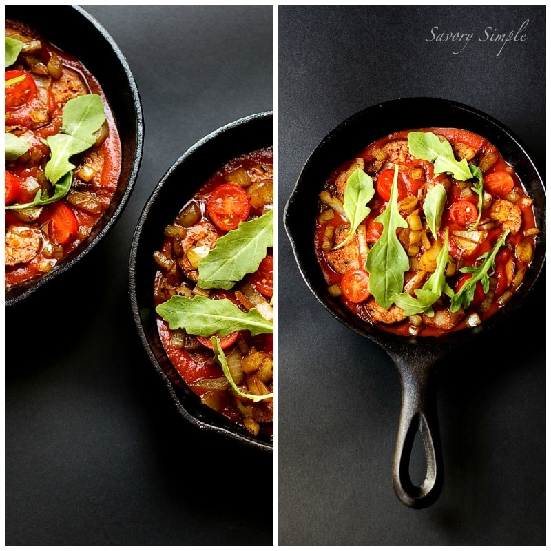 Baked Eggs and Chorizo ~ Savory Simple