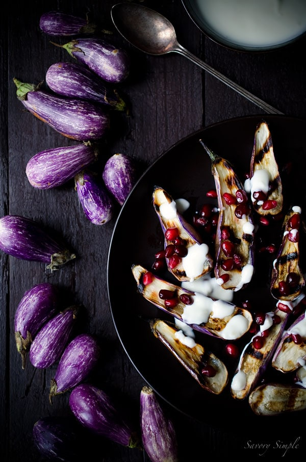 This Grilled Fairytale Eggplant with Garlic Yogurt Sauce and Pomegranate is an impressive, flavorful, vegetarian appetizer.