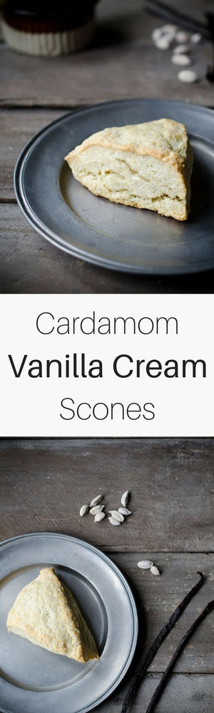 These Cardamom Vanilla Cream Scones are perfect for serving with afternoon tea or Sunday brunch. No mixer needed, ready in under 30 minutes!