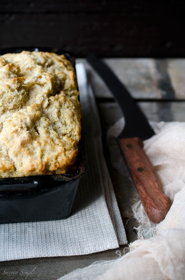 This summer ale beer bread has hints of lemon and pepper. No kneading required, ready in under an hour! Get this easy-to-follow recipe from SavorySimple.net