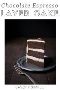 Chocolate espresso layer cake with text overlay.