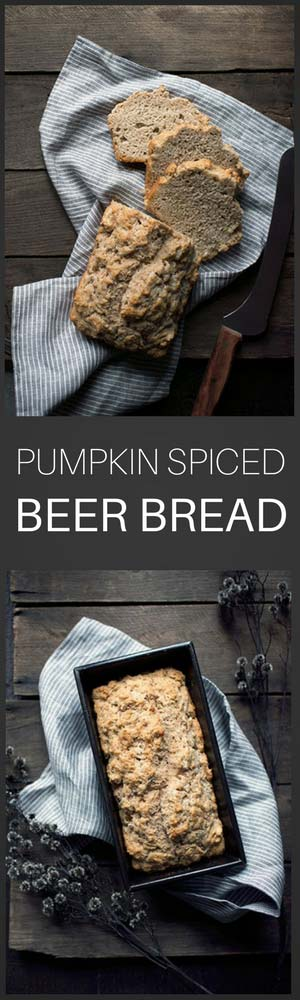 Spiced Pumpkin Beer Bread is an incredibly easy side dish! No yeast or kneading required. Perfect for Thanksgiving or alongside your favorite fall meals.
