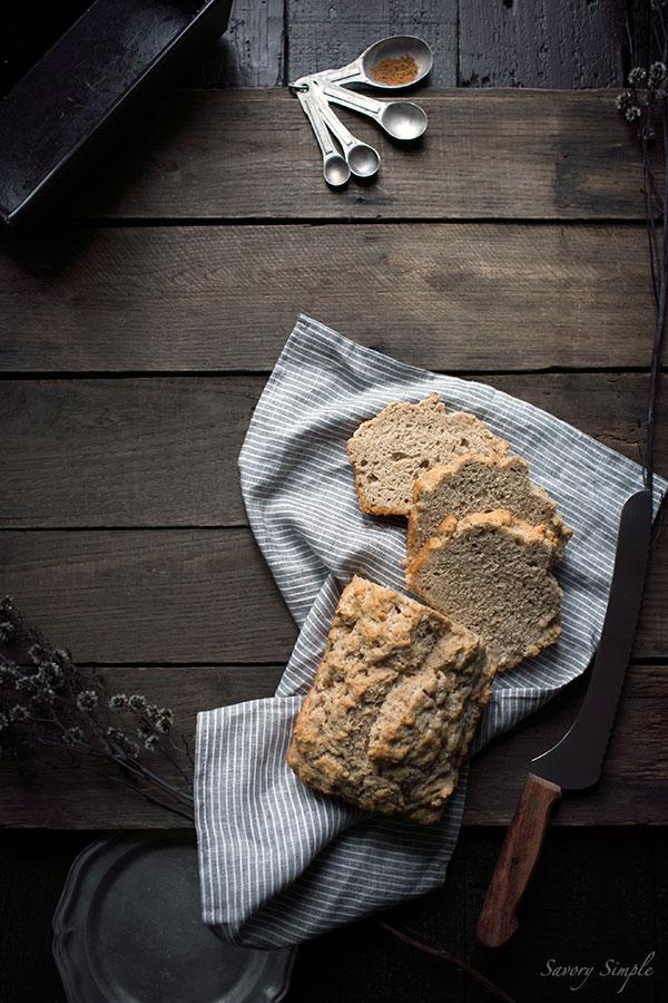 A photo of sliced pumpkin bread.