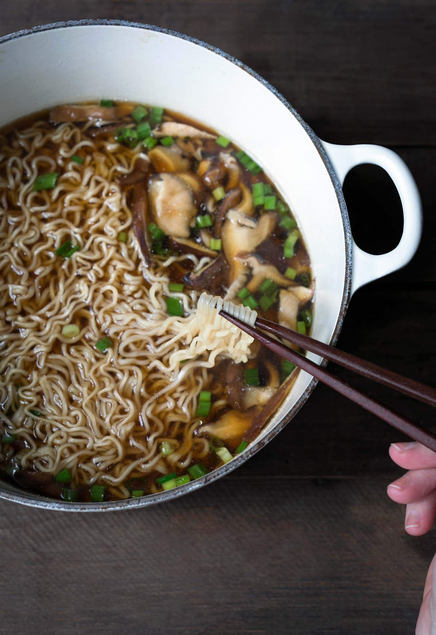This easy homemade ramen comes together in just 15 minutes. A few simple ingredients create a rich mushroom broth that is incredibly flavorful. Get the recipe from SavorySimple.net
