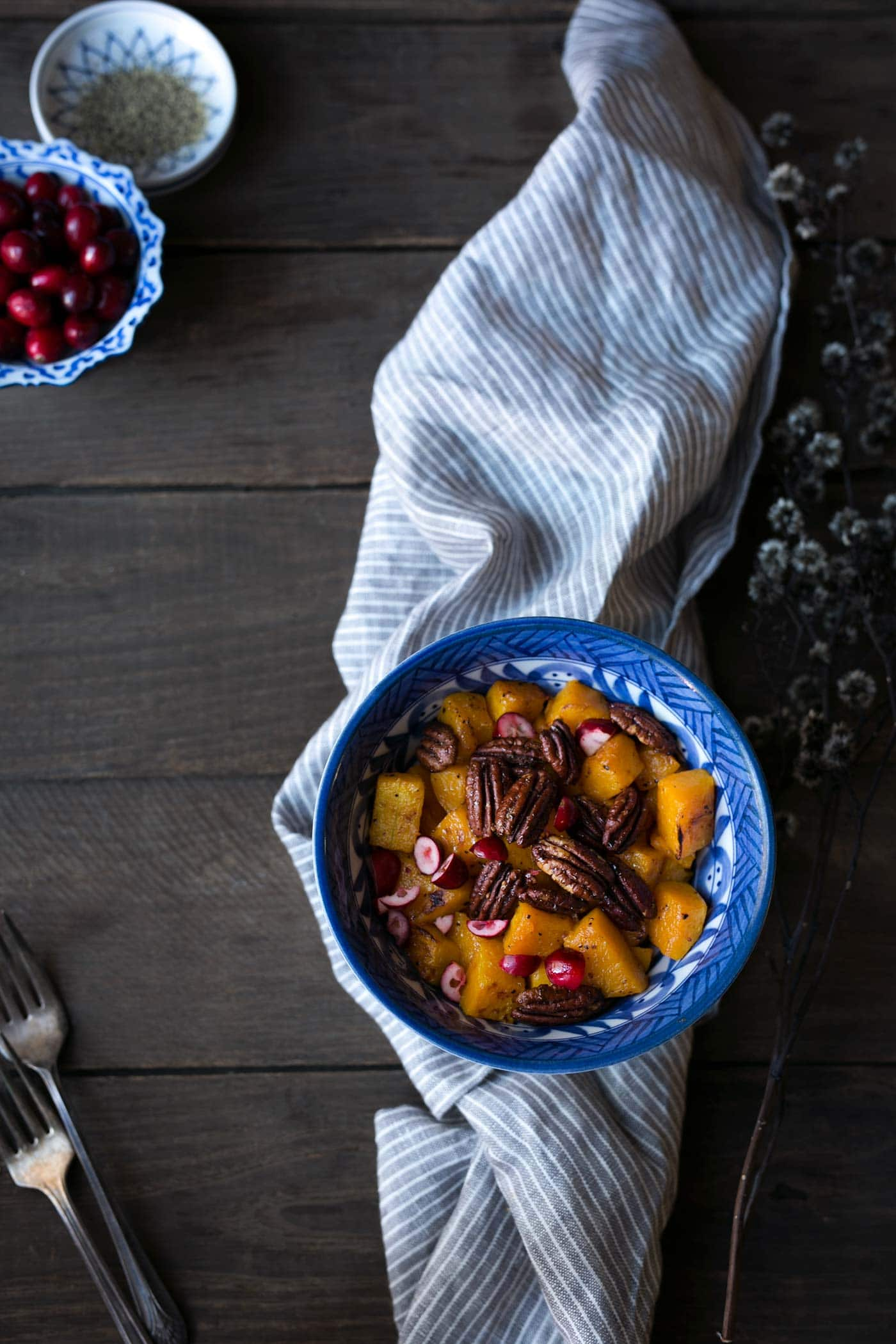 This recipe for Roasted Butternut Squash with Maple Pecans and Cranberries is a wonderful, light side dish that is healthy, filling and incredibly satisfying. Salt, pepper and olive oil add extra savoriness to the dish. Get the recipe from SavorySimple.net