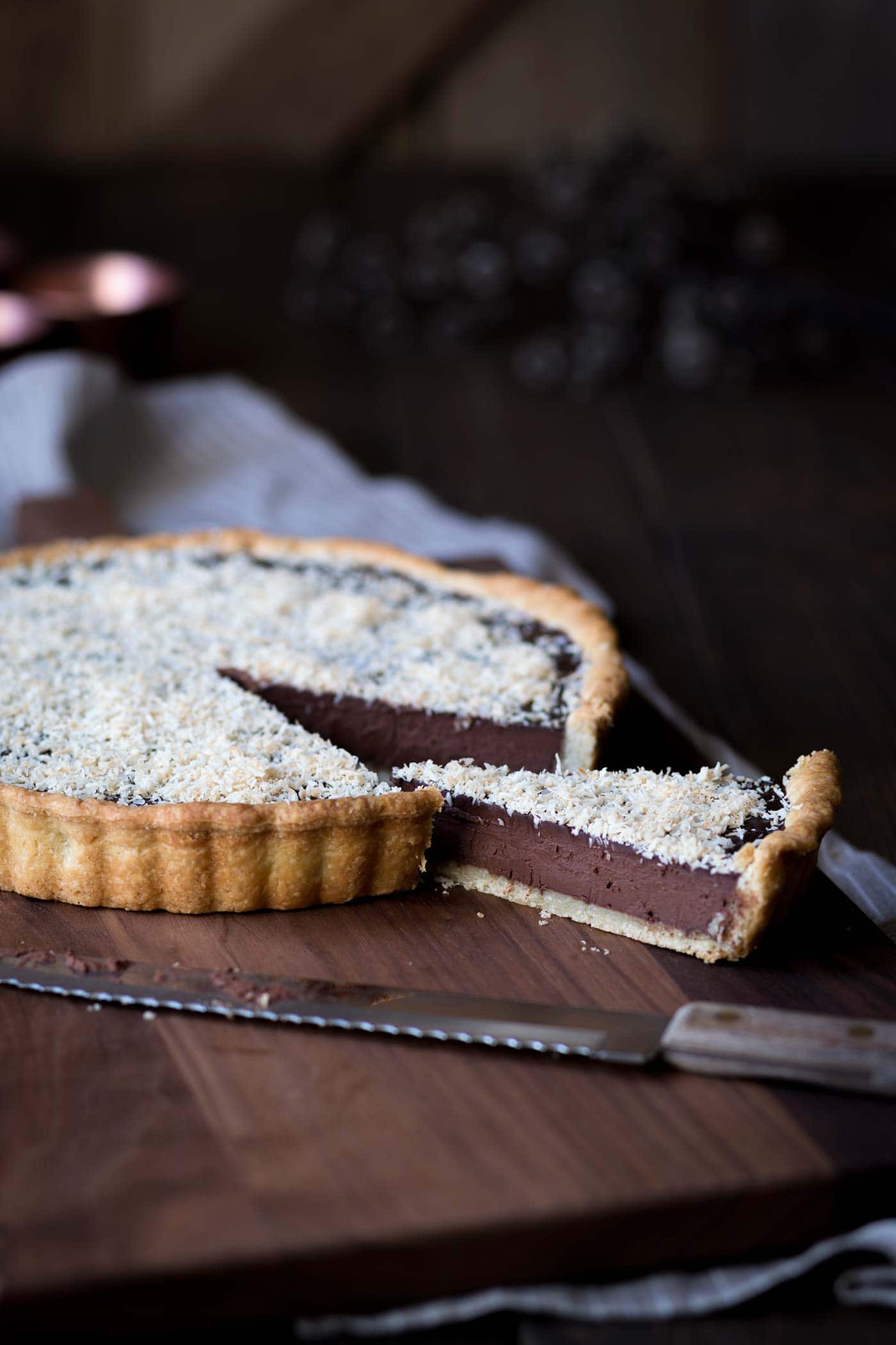 A photo of the finished chocolate tart recipe.