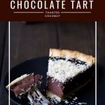 Chocolate tart with toasted coconut with text overlay.