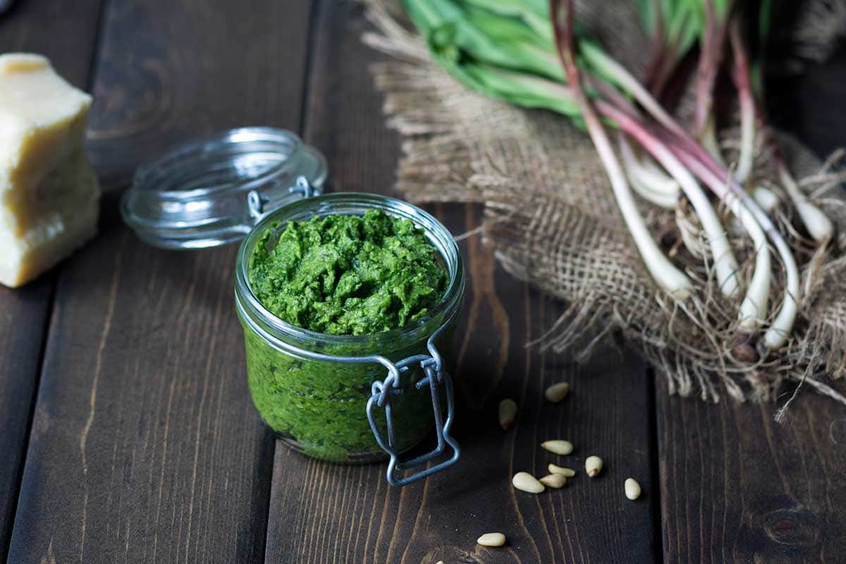 Ramp Pesto in a mason jar.