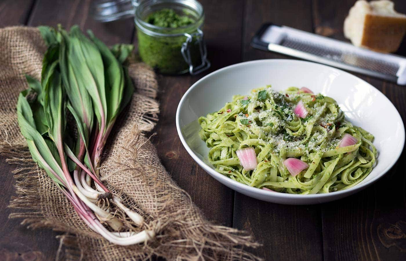 This creamy ramp pesto pasta has bright, clean flavors and is a wonderful dinner option! SavorySimple.net