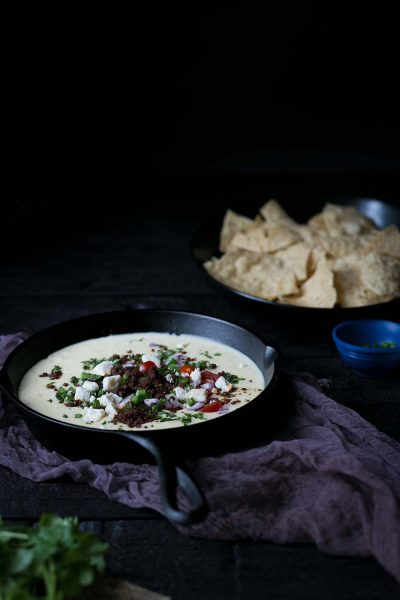 The BEST chorizo queso blanco dip recipe!