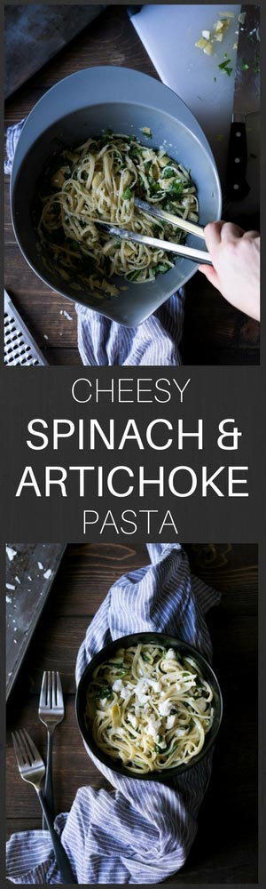 This Cheesy Spinach & Artichoke Pasta is a simple, tasty meal that comes together in less than 20 minutes. Only 5 ingredients!
