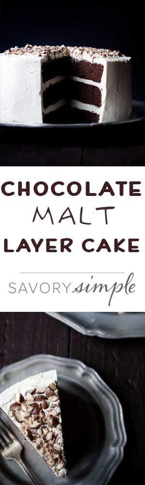 Chocolate Malt Layer Cake is a dense, moist and totally decadent dessert. Chopped malted milk balls add flavor and crunch. You need to try this!
