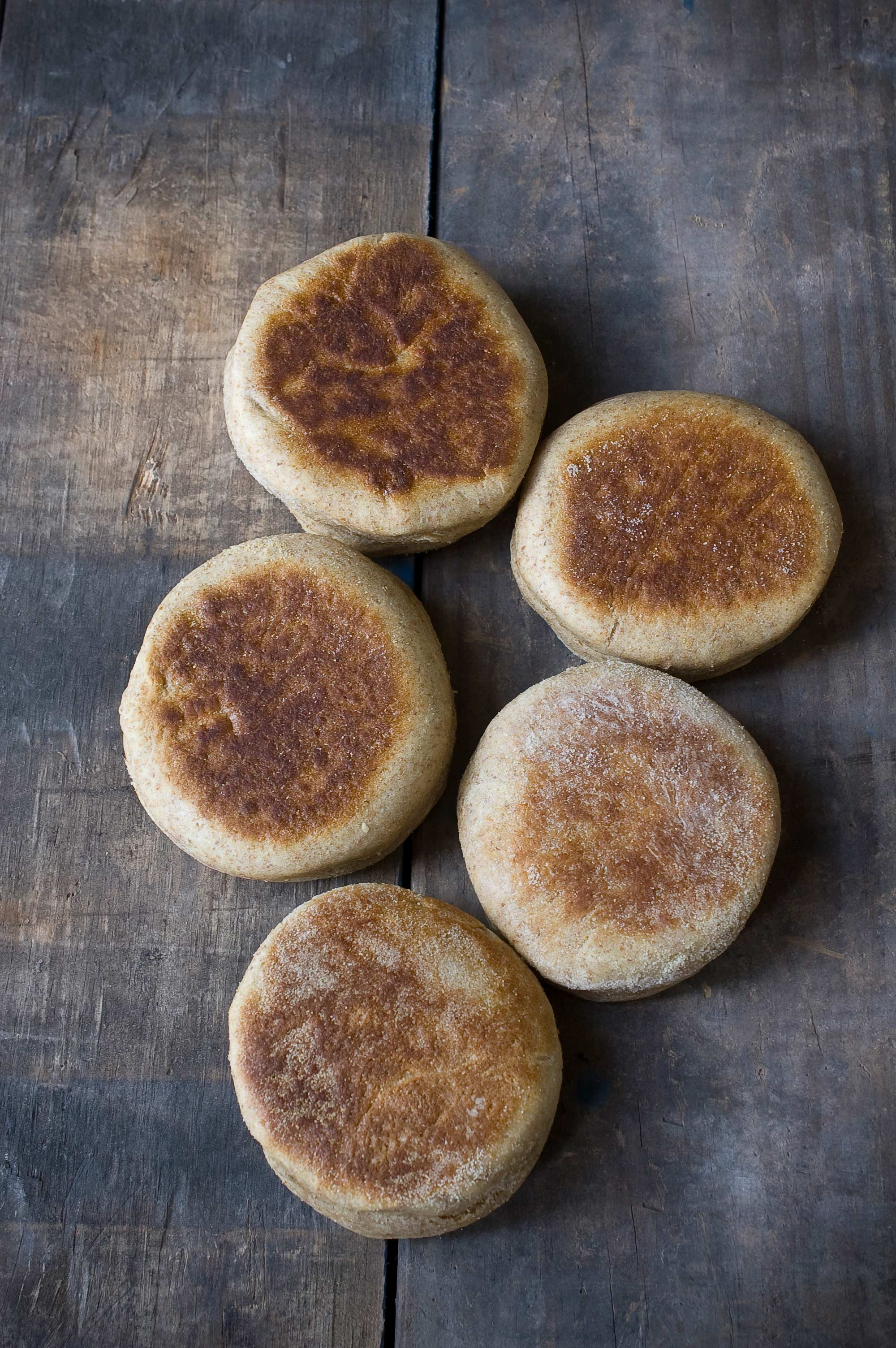 A photo of whole wheat english muffins.