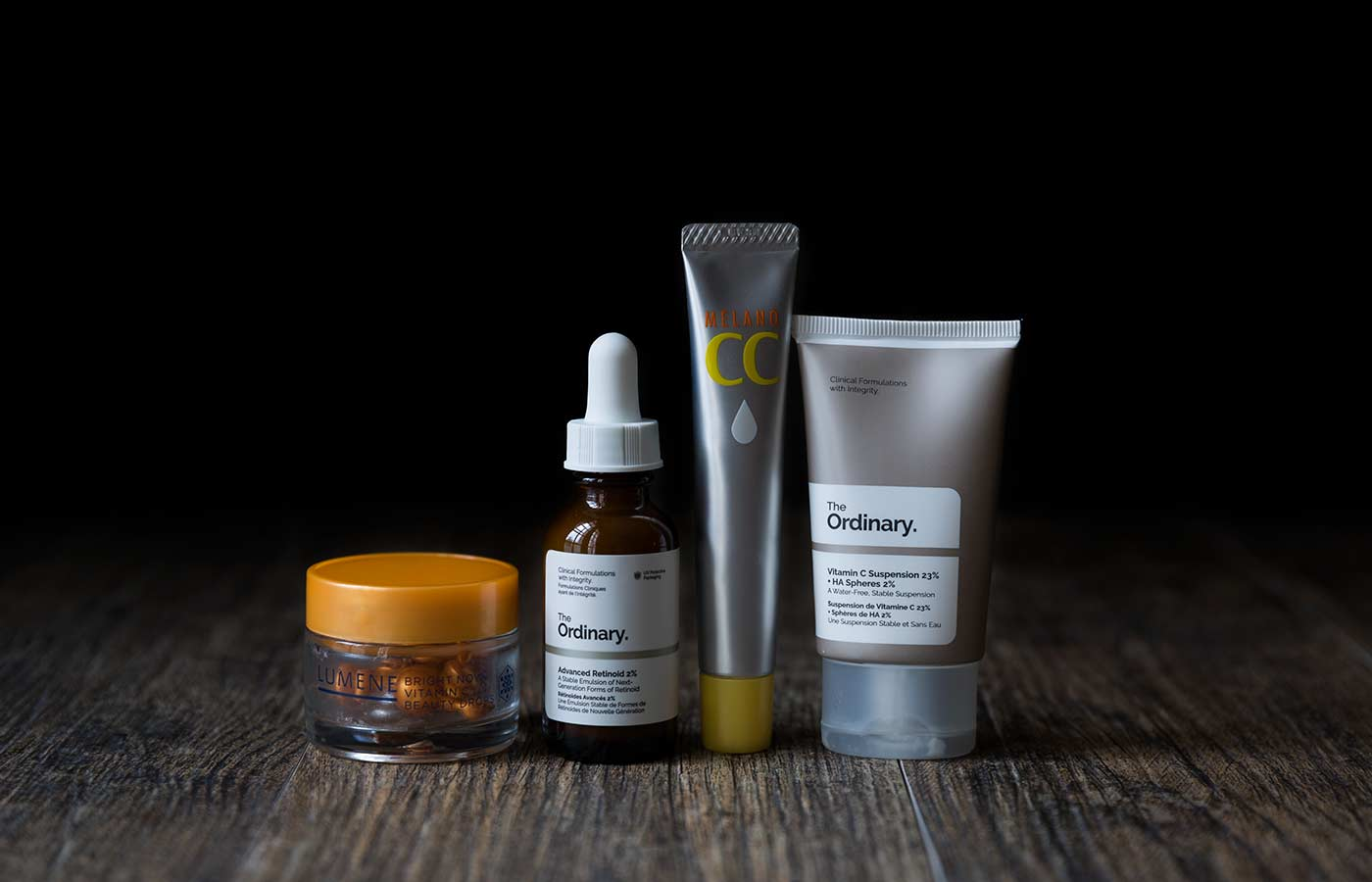 A photo of Vitamin C serums and The Ordinary's Advanced 2% Retinoid