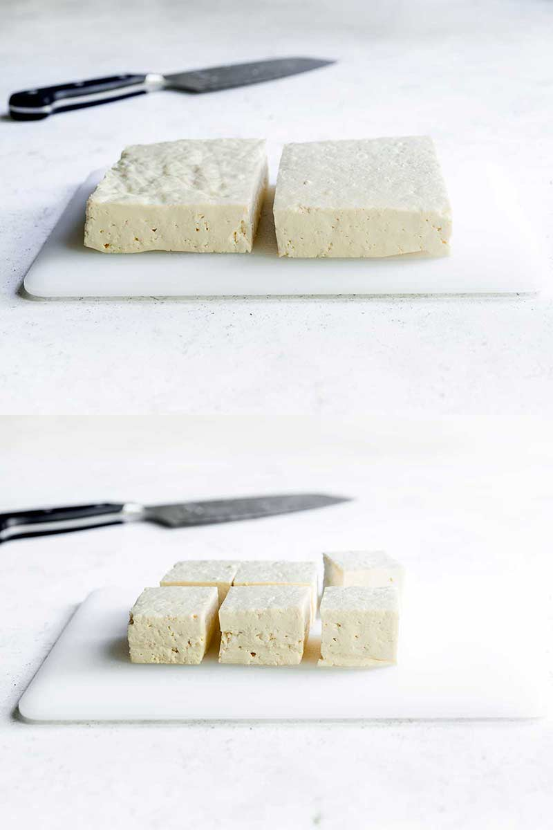 two photos spliced together: one demonstrating how to slice tofu in half lengthwise, the other showing how to cut tofu into cubes