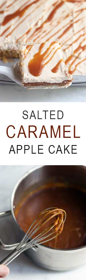 Salted Caramel Apple Cake is a perfect fall dessert. No stand mixer required! Get the recipe from Savory Simple.