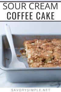 Sour cream coffee cake recipe photo with text overlay