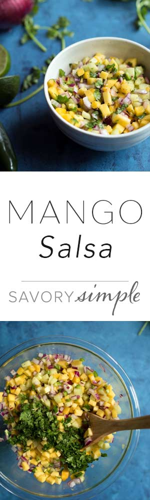 This mango salsa is fantastic served with tortilla chips, but I also love using it as a topping for fish and chicken!
