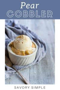 Pear cobbler with text overlay.
