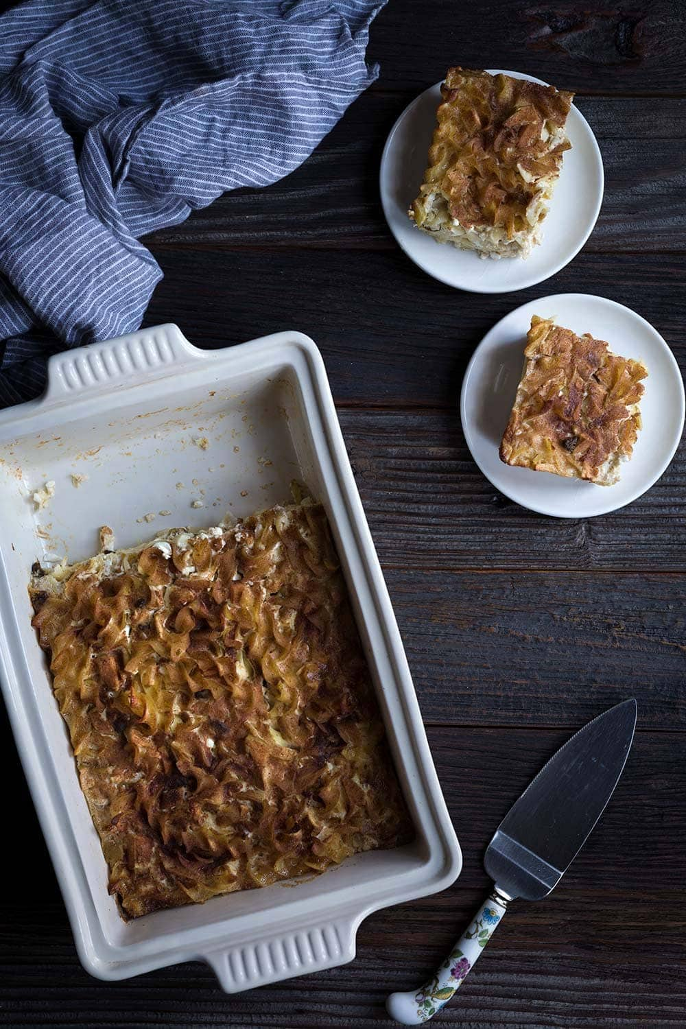 This sweet Noodle Kugel with apples is perfect for celebrating Jewish holidays including Chanukah and Passover! Sour cream, cottage cheese, and a cinnamon-sugar topping help make this a perfect comfort food dish.