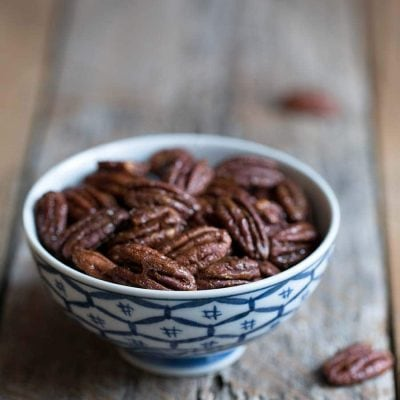 Candied pecans in a bowl