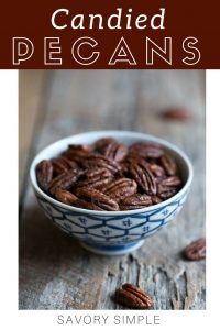 Candied pecans with text overlay.